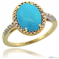 14k Yellow Gold Diamond Sleeping Beauty Turquoise Ring 2.4 ct Oval Stone 10x8 mm, 1/2 in wide -Style Cy418111