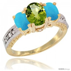 14k Yellow Gold Ladies Oval Natural Peridot 3-Stone Ring with Turquoise Sides Diamond Accent