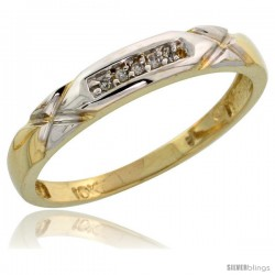 10k Yellow Gold Ladies Diamond Wedding Band Ring 0.03 cttw Brilliant Cut, 1/8 in wide