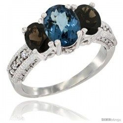 14k White Gold Ladies Oval Natural London Blue Topaz 3-Stone Ring with Smoky Topaz Sides Diamond Accent