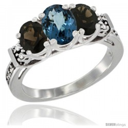 14K White Gold Natural London Blue Topaz & Smoky Topaz Ring 3-Stone Oval with Diamond Accent