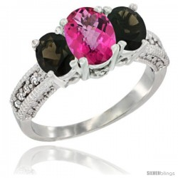 14k White Gold Ladies Oval Natural Pink Topaz 3-Stone Ring with Smoky Topaz Sides Diamond Accent