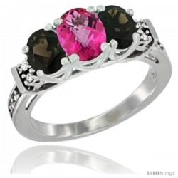 14K White Gold Natural Pink Topaz & Smoky Topaz Ring 3-Stone Oval with Diamond Accent