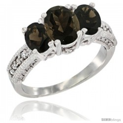 14k White Gold Ladies Oval Natural Smoky Topaz 3-Stone Ring Diamond Accent