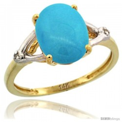 14k Yellow Gold Diamond Sleeping Beauty Turquoise Ring 2.4 ct Oval Stone 10x8 mm, 3/8 in wide