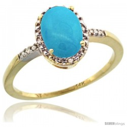 14k Yellow Gold Diamond Sleeping Beauty Turquoise Ring 1.17 ct Oval Stone 8x6 mm, 3/8 in wide