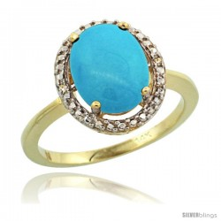 14k Yellow Gold Diamond Sleeping Beauty Turquoise Ring 2.4 ct Oval Stone 10x8 mm, 1/2 in wide -Style Cy418114