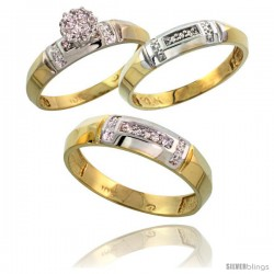 10k Yellow Gold Diamond Trio Engagement Wedding Ring 3-piece Set for Him & Her 4.5 mm & 4 mm wide 0.10 cttw -Style Ljy022w3
