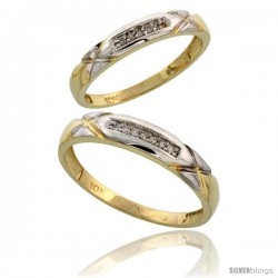 10k Yellow Gold Diamond Wedding Rings 2-Piece set for him 4 mm & Her 3.5 mm 0.07 cttw Brilliant Cut