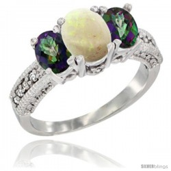 10K White Gold Ladies Oval Natural Opal 3-Stone Ring with Mystic Topaz Sides Diamond Accent