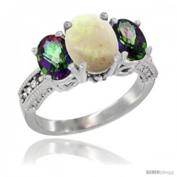 10K White Gold Ladies Natural Opal Oval 3 Stone Ring with Mystic Topaz Sides Diamond Accent