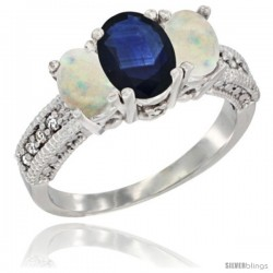 14k White Gold Ladies Oval Natural Blue Sapphire 3-Stone Ring with Opal Sides Diamond Accent