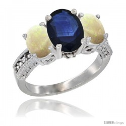 14K White Gold Ladies 3-Stone Oval Natural Blue Sapphire Ring with Opal Sides Diamond Accent