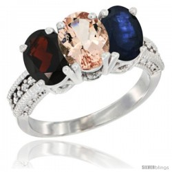 14K White Gold Natural Garnet, Morganite & Blue Sapphire Ring 3-Stone 7x5 mm Oval Diamond Accent