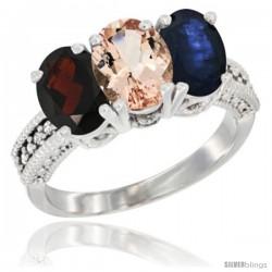14K White Gold Natural Garnet, Morganite & Blue Sapphire Ring 3-Stone 7x5 mm Oval Diamond Accent