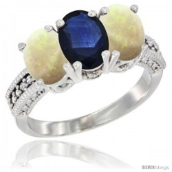 14K White Gold Natural Blue Sapphire & Opal Sides Ring 3-Stone 7x5 mm Oval Diamond Accent