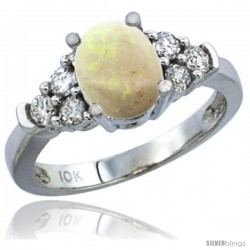 14k White Gold Ladies Natural Opal Ring oval 9x7 Stone Diamond Accent
