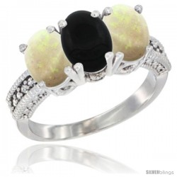 14K White Gold Natural Black Onyx & Opal Sides Ring 3-Stone 7x5 mm Oval Diamond Accent
