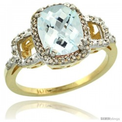 10k Yellow Gold Diamond Aquamarine Ring 2 ct Checkerboard Cut Cushion Shape 9x7 mm, 1/2 in wide