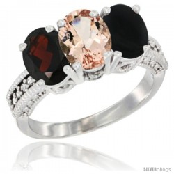 14K White Gold Natural Garnet, Morganite & Black Onyx Ring 3-Stone 7x5 mm Oval Diamond Accent
