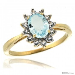 10k Yellow Gold Diamond Halo Aquamarine Ring 0.85 ct Oval Stone 7x5 mm, 1/2 in wide
