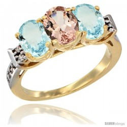 10K Yellow Gold Natural Morganite & Aquamarine Sides Ring 3-Stone Oval 7x5 mm Diamond Accent