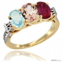 10K Yellow Gold Natural Aquamarine, Morganite & Ruby Ring 3-Stone Oval 7x5 mm Diamond Accent