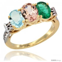 10K Yellow Gold Natural Aquamarine, Morganite & Emerald Ring 3-Stone Oval 7x5 mm Diamond Accent