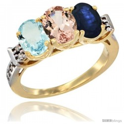 10K Yellow Gold Natural Aquamarine, Morganite & Blue Sapphire Ring 3-Stone Oval 7x5 mm Diamond Accent