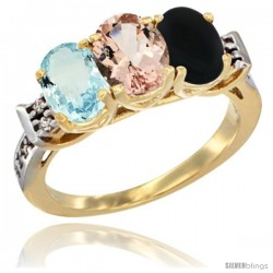 10K Yellow Gold Natural Aquamarine, Morganite & Black Onyx Ring 3-Stone Oval 7x5 mm Diamond Accent
