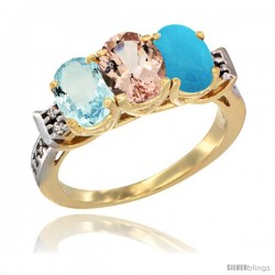 10K Yellow Gold Natural Aquamarine, Morganite & Turquoise Ring 3-Stone Oval 7x5 mm Diamond Accent