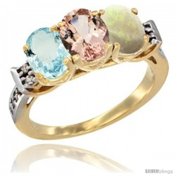 10K Yellow Gold Natural Aquamarine, Morganite & Opal Ring 3-Stone Oval 7x5 mm Diamond Accent
