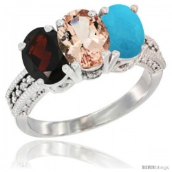 14K White Gold Natural Garnet, Morganite & Turquoise Ring 3-Stone 7x5 mm Oval Diamond Accent