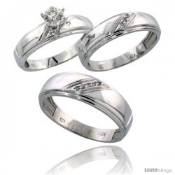 Sterling Silver 3-Piece Trio His (7mm) & Hers (5.5mm) Diamond Wedding Band Set, w/ 0.09 Carat Brilliant Cut Diamonds
