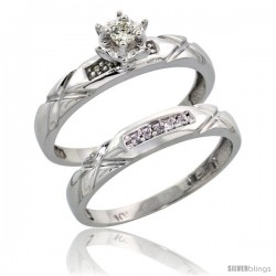 Sterling Silver 2-Piece Diamond Engagement Ring Set, w/ 0.09 Carat Brilliant Cut Diamonds, 1/8 in. (3.5mm) wide