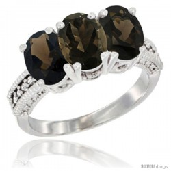 14K White Gold Natural Smoky Topaz Ring 3-Stone 7x5 mm Oval Diamond Accent
