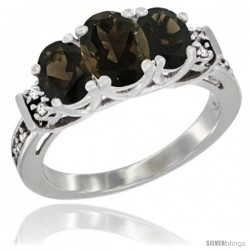 14K White Gold Natural Smoky Topaz Ring 3-Stone Oval with Diamond Accent