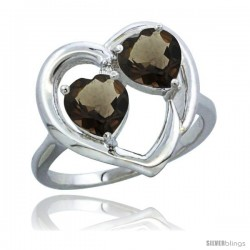 14k White Gold 2-Stone Heart Ring 6mm Natural Smoky Topaz & Smoky Topaz Diamond Accent