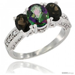 14k White Gold Ladies Oval Natural Mystic Topaz 3-Stone Ring with Smoky Topaz Sides Diamond Accent