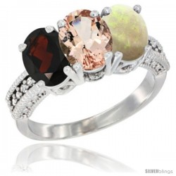 14K White Gold Natural Garnet, Morganite & Opal Ring 3-Stone 7x5 mm Oval Diamond Accent