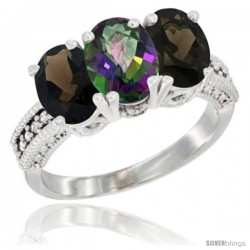14K White Gold Natural Mystic Topaz & Smoky Topaz Ring 3-Stone 7x5 mm Oval Diamond Accent