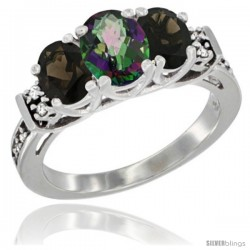 14K White Gold Natural Mystic Topaz & Smoky Topaz Ring 3-Stone Oval with Diamond Accent