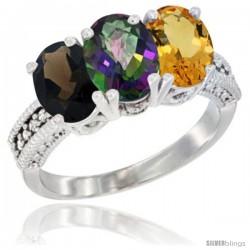14K White Gold Natural Smoky Topaz, Mystic Topaz & Citrine Ring 3-Stone 7x5 mm Oval Diamond Accent