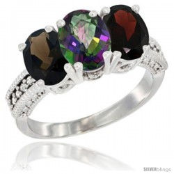 14K White Gold Natural Smoky Topaz, Mystic Topaz & Garnet Ring 3-Stone 7x5 mm Oval Diamond Accent