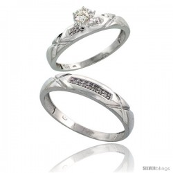 Sterling Silver 2-Piece Diamond Ring Set ( Engagement Ring & Man's Wedding Band ), w/ 0.10 Carat Brilliant Cut Diamonds