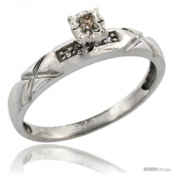 Sterling Silver Diamond Engagement Ring, w/ 0.06 Carat Brilliant Cut Diamonds, 1/8 in. (3.5mm) wide