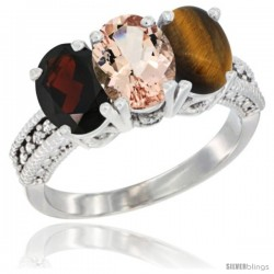 14K White Gold Natural Garnet, Morganite & Tiger Eye Ring 3-Stone 7x5 mm Oval Diamond Accent