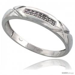 Sterling Silver Men's Diamond Band, w/ 0.04 Carat Brilliant Cut Diamonds, 3/16 in. (4mm) wide
