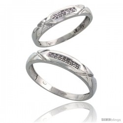 Sterling Silver 2-Piece His (4mm) & Hers (3.5mm) Diamond Wedding Band Set, w/ 0.07 Carat Brilliant Cut Diamonds