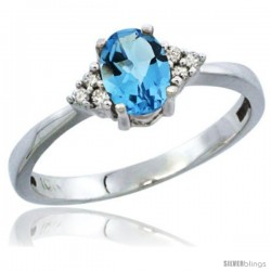 10K White Gold Natural Swiss Blue Topaz Ring Oval 6x4 Stone Diamond Accent